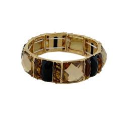 Chunky Gems & Tortoise Bracelet Black