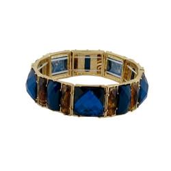 Chunky Gems & Tortoise Bracelet Blue