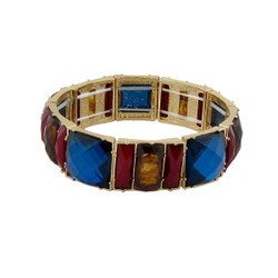 Chunky Gems & Tortoise Bracelet Blue and Red