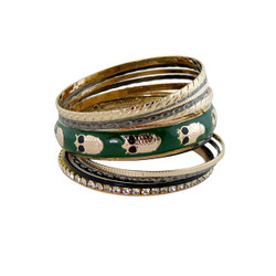 Owl Bangle Bracelet Set Green