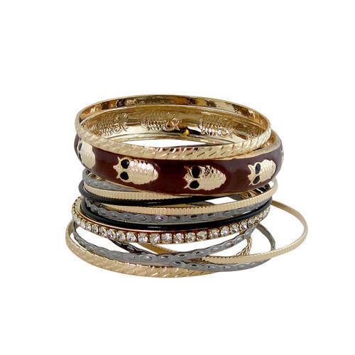 Owl Bangle Bracelet Set Brown
