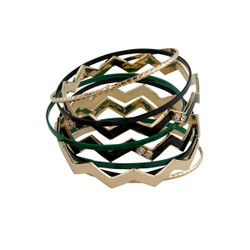 ZigZag and Bangle Set Green, Black and Gold