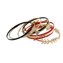 Know Your Direction set of Arrow Bangles Red, Black, and Gold