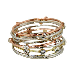 Daring Crystal Embellished Bangles Set of 9 Tri Metal Tone