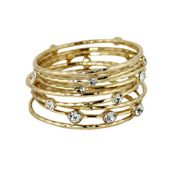 Daring Crystal Embellished Bangles Set of 9 Gold