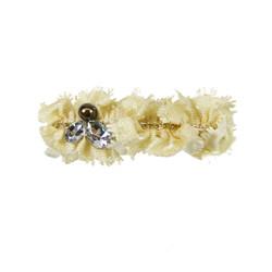 Bejeweled Chain Fabric Hair Barrette Cream