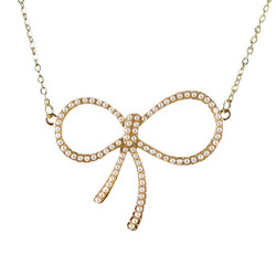 Pearl Ribbon Necklace Gold Toned