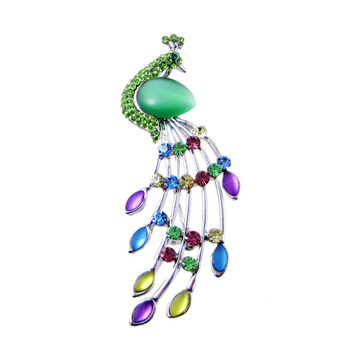 Bejeweled Peacock Silver Pin Pendant Green