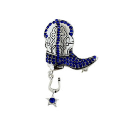 Glittering Crystal Cowboy Boot with Spur Brooch and Pendant Sapphire