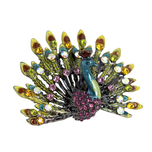 Fully Displayed Peacock Crystal Brooch Yellow and Pink