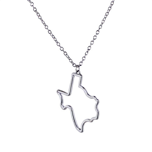 State of Texas Outline Necklace Silver