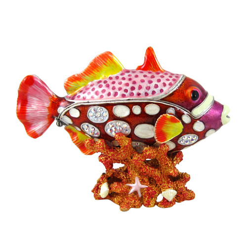 Fish Hiding in Coral Trinket Box Bejeweled Orange