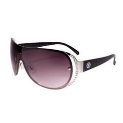 Rhinestone Detail Sheild Style Sunglasses Black