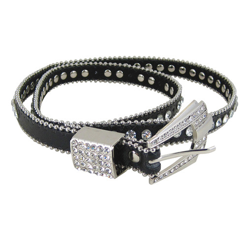 Rhinestone Fashion Belt Jeweled Black (S-M)