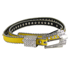 Rhinestone Fashion Belt Jeweled Yellow (M-L)
