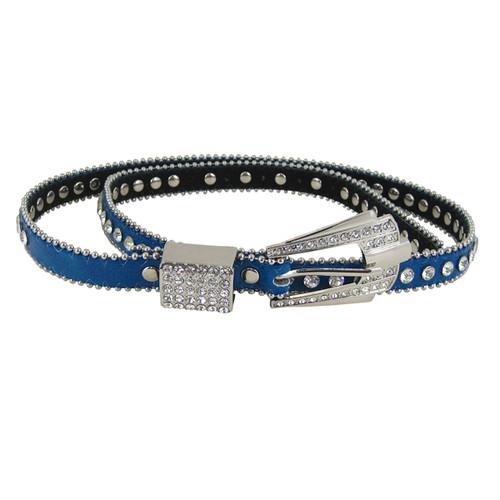 Rhinestone Fashion Belt Jeweled Blue (M-L)