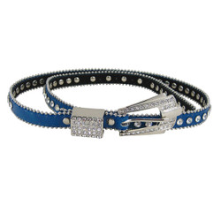 Rhinestone Fashion Belt Jeweled Blue (S-M)