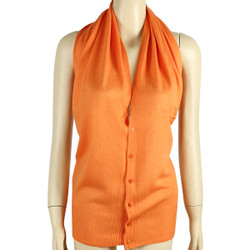 Multi Use Soft Scarf with Buttons Orange