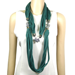 Shredded Circle Jewelry Scarf Green