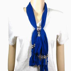 Criss Cross Tassel Jewelry Scarf Indigo