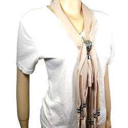 Criss Cross Tassel Jewelry Scarf Beige