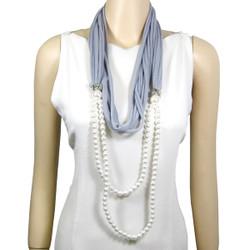 Acrylic Pearl Jewelry Scarf Grey