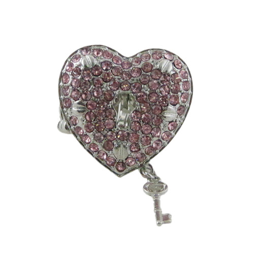 Heart Lock and Key Stretchy Ring Oversize