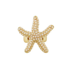 Oversize Textured Starfish Stretch Ring Ivory