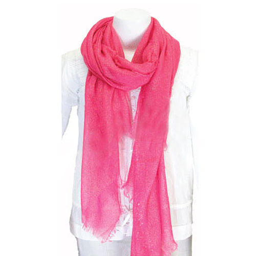 Solid Fringed Scarf Hot Pink