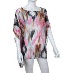 Beach Poncho Coverup Watercolor Print Pink