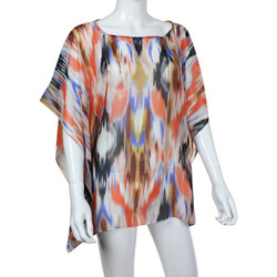 Beach Poncho Coverup Watercolor Print Orange