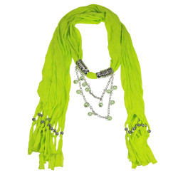 Dangling Beads Jewelry Scarf Neon Green