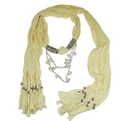 Dangling Beads Jewelry Scarf Ivory