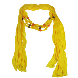 Wood Beads Jewelry Scarf Yellow