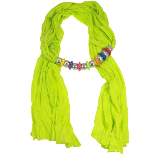 Bohemian Style Beads Jewelry Scarf Neon Green