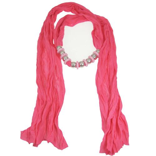 Bohemian Style Beads Jewelry Scarf Fuchsia