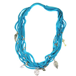Assorted Charms Jewelry Necklace Scarf Blue