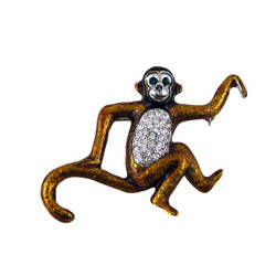 Sparkling Monkey Pin Bejeweled