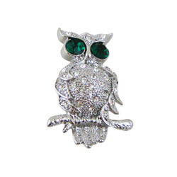 Sparkling Owl Pin Bejeweled