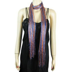 Playful Fishnet Tasseled Scarf Purple and Orange