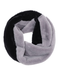 Faux Fur Single Circle Wide Infinity Scarf 2-Toned Grey Black
