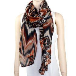 New Tribal Pattern Scarf Brown & Orange