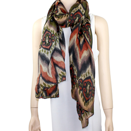 New Tribal Pattern Scarf Olive and Brown