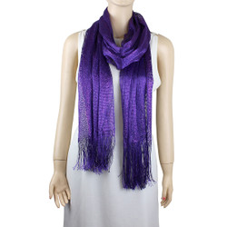 Shimmer and Shine Fringed Scarf Purple