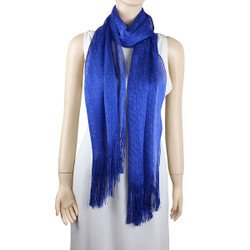 Shimmer and Shine Fringed Scarf Royal Blue