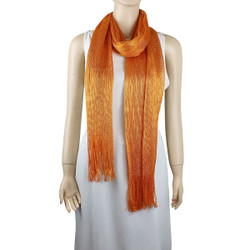 Shimmer and Shine Fringed Scarf Orange