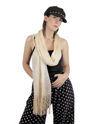 Shimmer and Shine Fringed Scarf Champagne