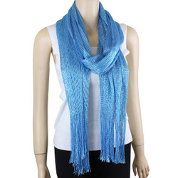 Shimmer and Shine Fringed Scarf Turquoise