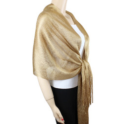 Shimmer and Shine Fringed Scarf Gold
