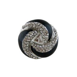 Dazzling Black Swirl Ring Crystals